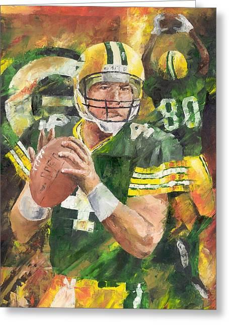Packer Quarterback Greeting Cards - Brett Favre Greeting Card by Christiaan Bekker