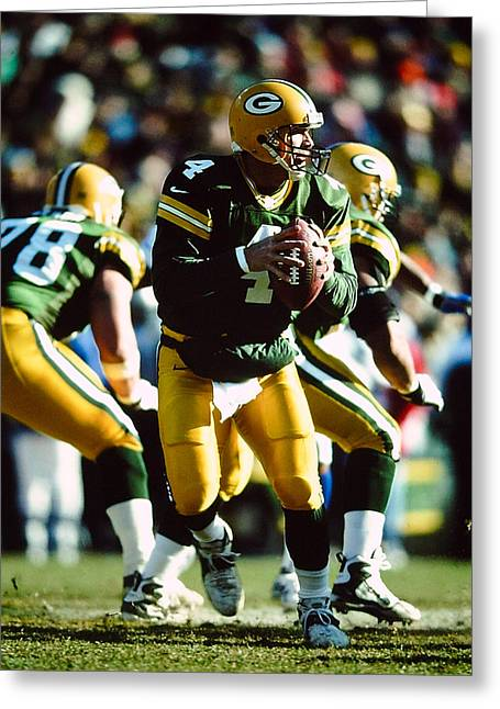 Packer Quarterback Greeting Cards - Brett Favre Greeting Card by Jerry Coli