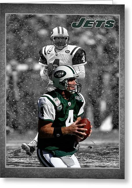 New York Jets Greeting Cards - Brett Favre Jets Greeting Card by Joe Hamilton
