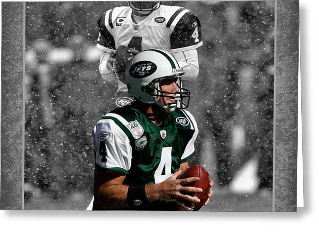 BRETT FAVRE JETS Greeting Card by Joe Hamilton