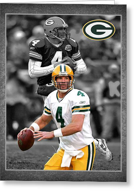 Shoes Greeting Cards - Brett Favre Packers Greeting Card by Joe Hamilton