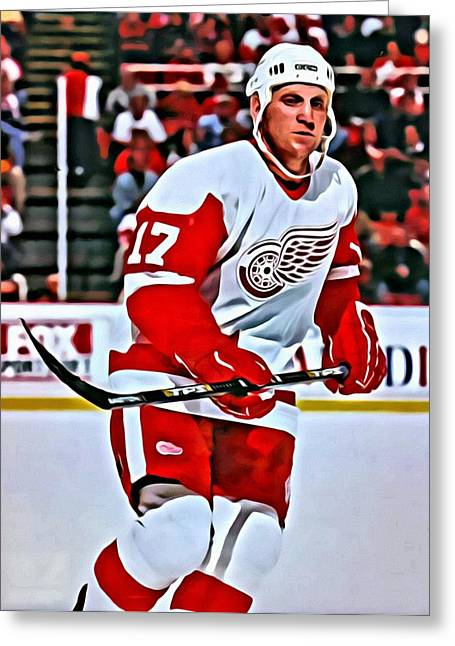 Detroit Legends Greeting Cards - Brett Hull Greeting Card by Florian Rodarte
