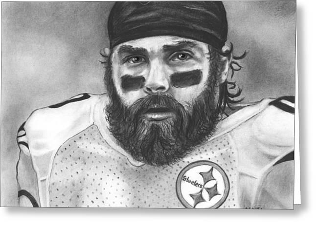 Steelers Drawings Greeting Cards - Brett Keisel Greeting Card by Adam Acosta