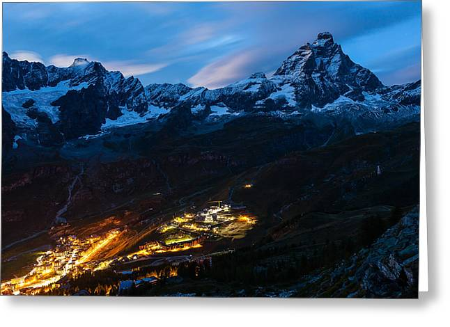 Dikovsky Greeting Cards - Breul-Cervinia at Night Greeting Card by Konstantin Dikovsky