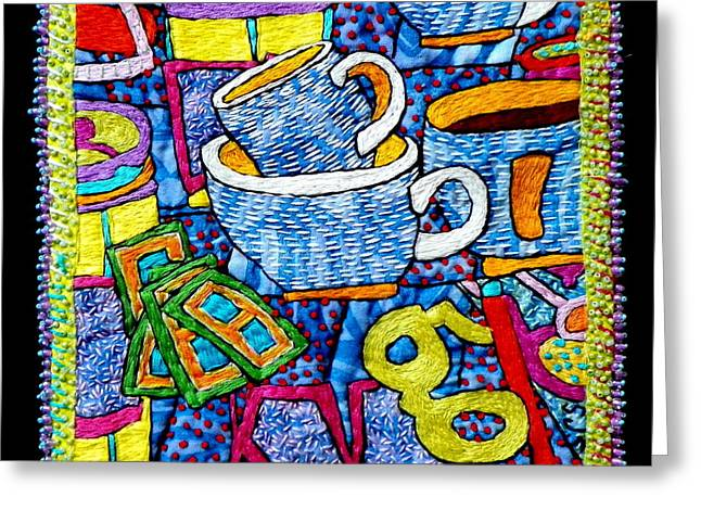 Cup Tapestries - Textiles Greeting Cards - Brew and U Greeting Card by Susan Sorrell