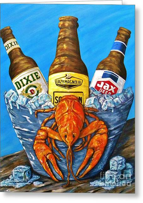Crawfish Beer Greeting Cards - Brew Bug Greeting Card by JoAnn Wheeler