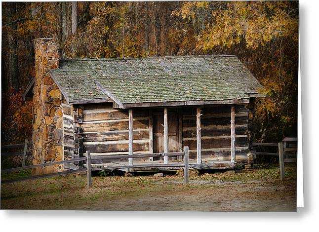 Old Cabins Greeting Cards - Brewer Cabin in Fall - Autumn Landscape Greeting Card by Jai Johnson