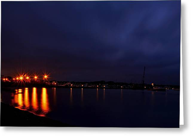 Yachting Greeting Cards - Brewer Yacht Yard At Cowesett Rhode Island Blue Hour Greeting Card by Lourry Legarde
