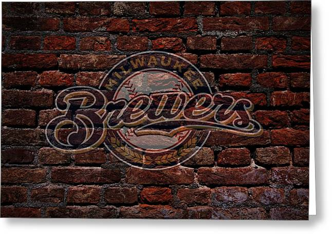 Cabin Wall Greeting Cards - Brewers Baseball Graffiti on Brick  Greeting Card by Movie Poster Prints