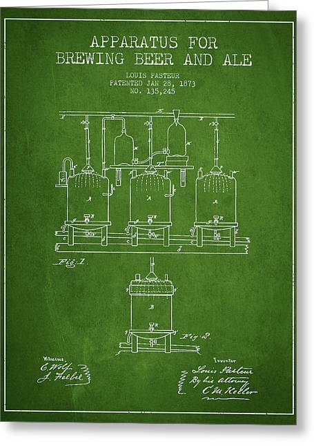 Technical Greeting Cards - Brewing Beer and Ale Apparatus Patent Drawing from 1873 - Green Greeting Card by Aged Pixel