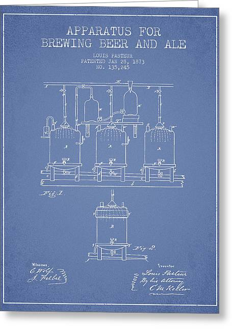 Barrel Greeting Cards - Brewing Beer and Ale Apparatus Patent Drawing from 1873 - Light  Greeting Card by Aged Pixel