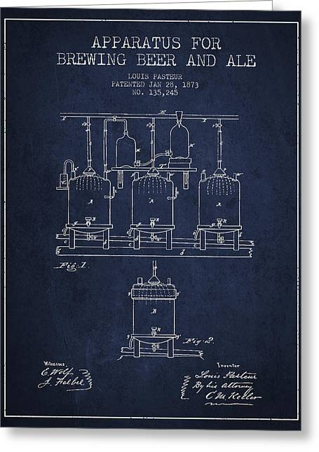 Barrel Greeting Cards - Brewing Beer and Ale Apparatus Patent Drawing from 1873 - Navy B Greeting Card by Aged Pixel