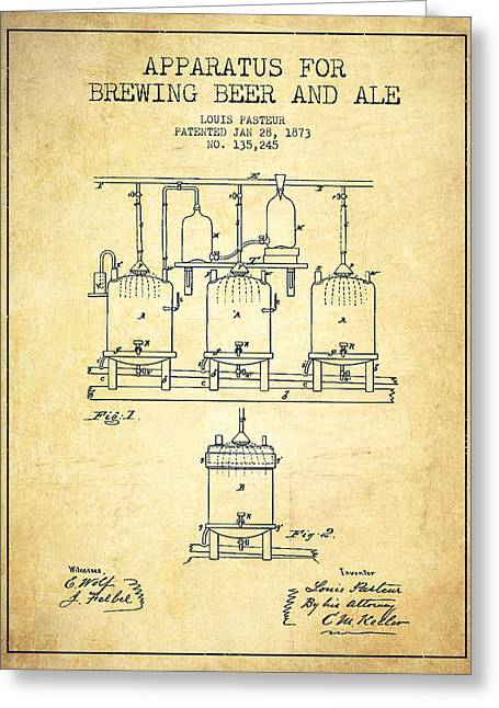 Technical Greeting Cards - Brewing Beer and Ale Apparatus Patent Drawing from 1873 - Vintag Greeting Card by Aged Pixel