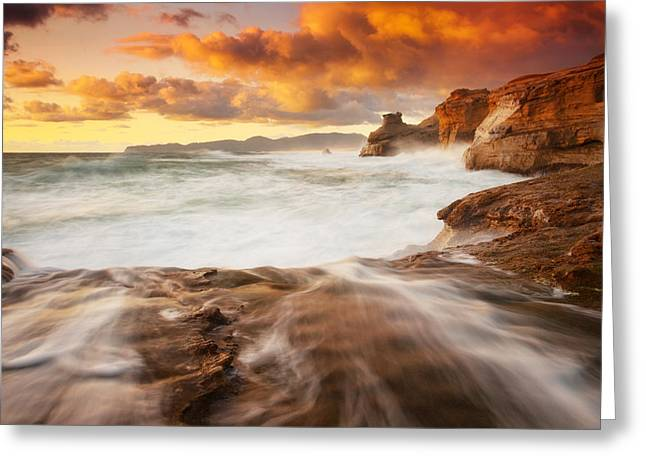 Oregon Sea Stacks Greeting Cards - Brewing up a storm Greeting Card by Darren  White