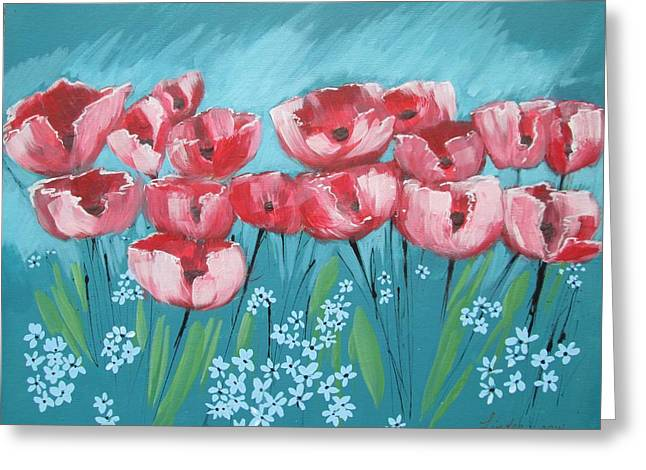 Breezy Greeting Cards - Brezzy Poppies Greeting Card by J Linder