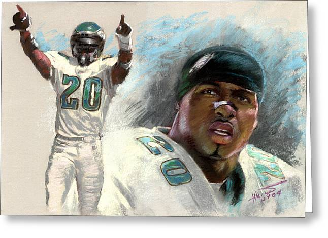 Brian Dawkins Greeting Cards - Brian Dawkins Greeting Card by Viola El