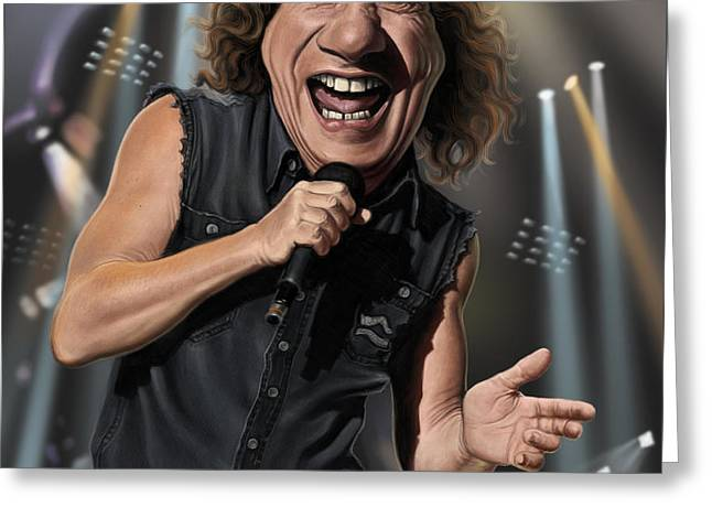 Lead Singer Greeting Cards - Brian Johnson Greeting Card by Andre Koekemoer