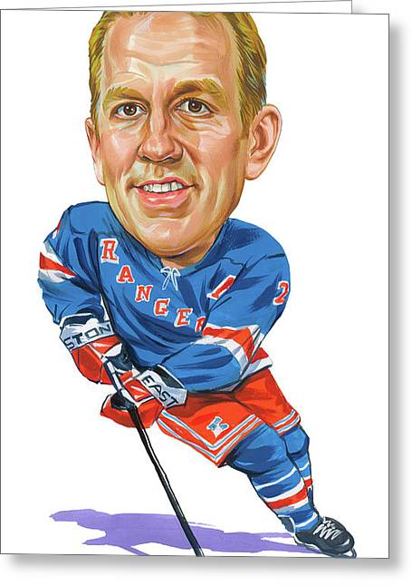 Puck Paintings Greeting Cards - Brian Leetch Greeting Card by Art