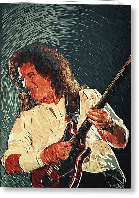 Adam Lambert Greeting Cards - Brian May II Greeting Card by Taylan Soyturk