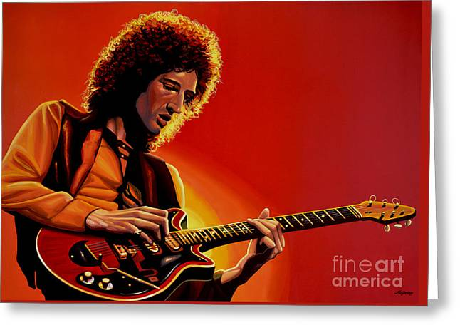 Live Paintings Greeting Cards - Brian May Greeting Card by Paul Meijering