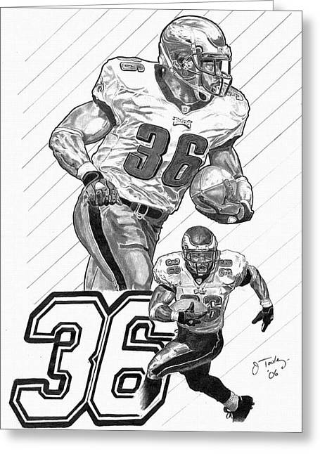 Running Back Drawings Greeting Cards - Brian Westbrook Greeting Card by Jonathan Tooley
