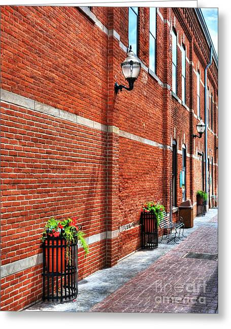 Brick Buildings Greeting Cards - Brick Alley Greeting Card by Mel Steinhauer