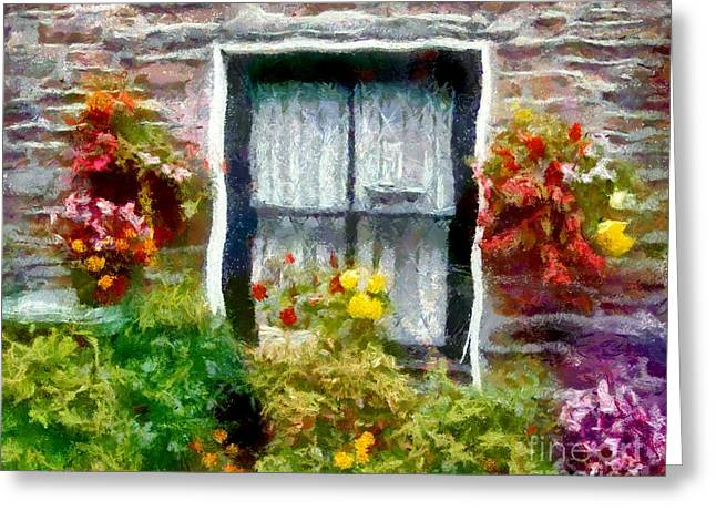 Toy Boat Greeting Cards - Brick and Blooms Greeting Card by RC DeWinter