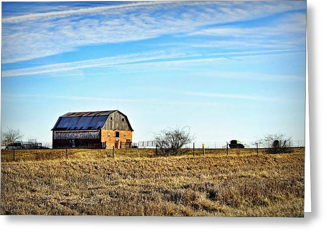 The Hills Greeting Cards - Brick Barn on the Hill Greeting Card by Cricket Hackmann