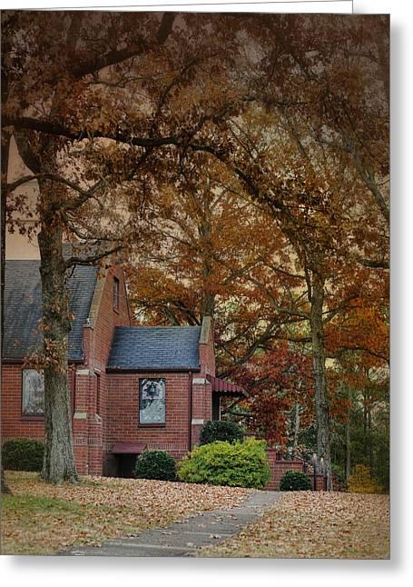 Fall Scenes Greeting Cards - Brick Church in Autumn - Fall Landscape Scene Greeting Card by Jai Johnson