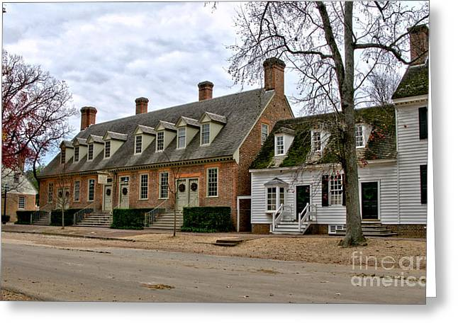 Clapboard House Greeting Cards - Brick House Tavern in Williamsburg Greeting Card by Olivier Le Queinec
