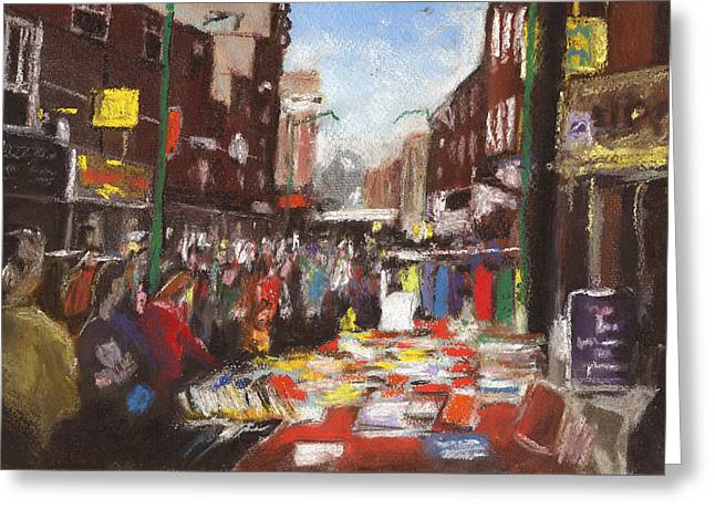 London Pastels Greeting Cards - Brick Lane Market Greeting Card by Paul Mitchell