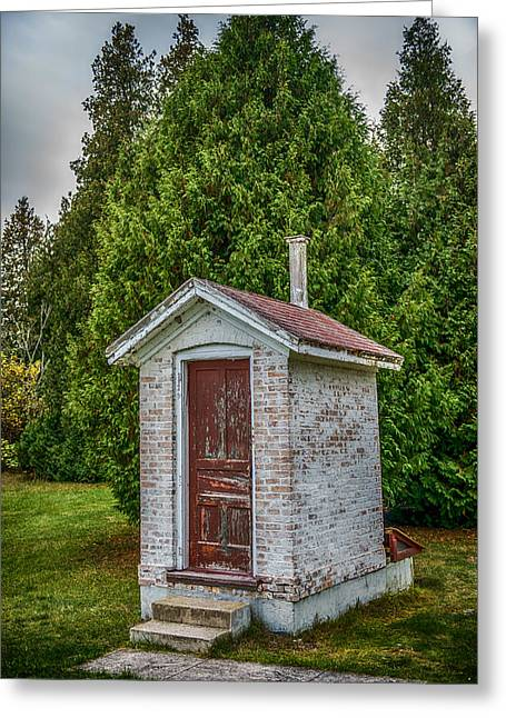 Sheds Greeting Cards - Brick Outhouse Greeting Card by Paul Freidlund