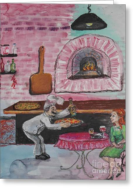 Italian Restaurant Mixed Media Greeting Cards - Brick Oven Pizza Greeting Card by Emily Michaud