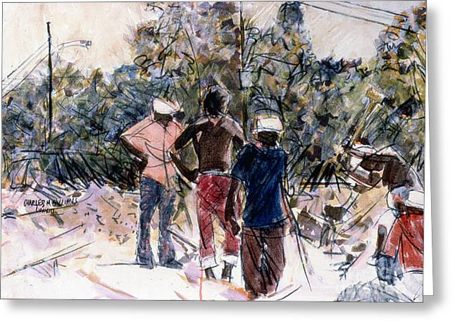 Sweat Mixed Media Greeting Cards - Brick Pickers Greeting Card by Charles M Williams