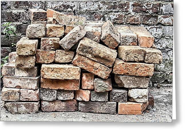 Row Homes Greeting Cards - Brick Pile Greeting Card by Nomad Art And  Design
