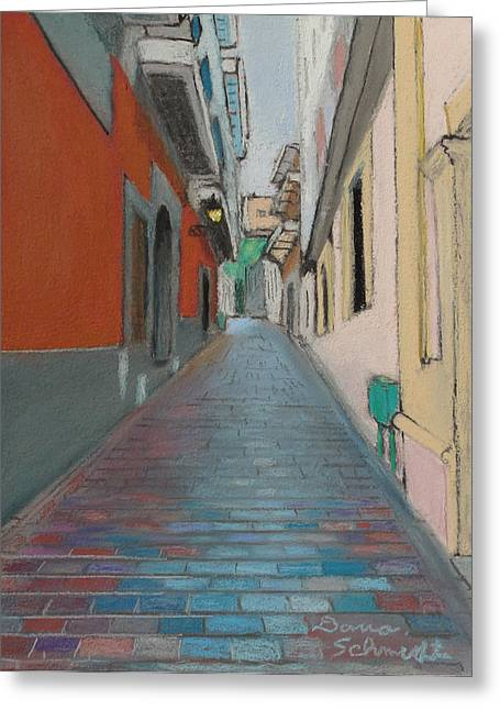 Puerto Rico Pastels Greeting Cards - Brick Street in Old San Juan Puerto Rico Greeting Card by Dana Schmidt