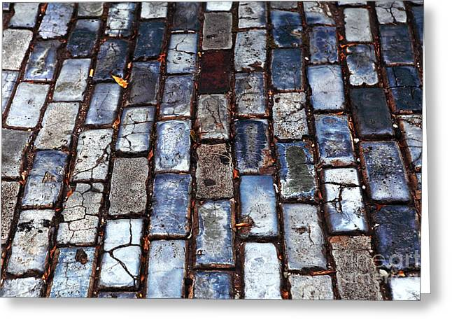 Brick Street Greeting Card by John Rizzuto