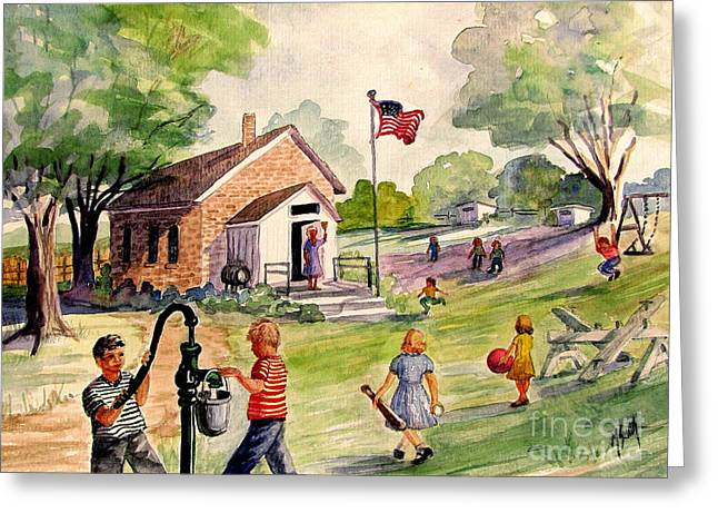 One Room School Houses Paintings Greeting Cards - Brick Street Memories Greeting Card by Marilyn Smith