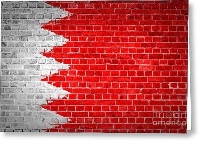 Bahrain Greeting Cards - Brick Wall Bahrain Flag Greeting Card by Antony McAulay