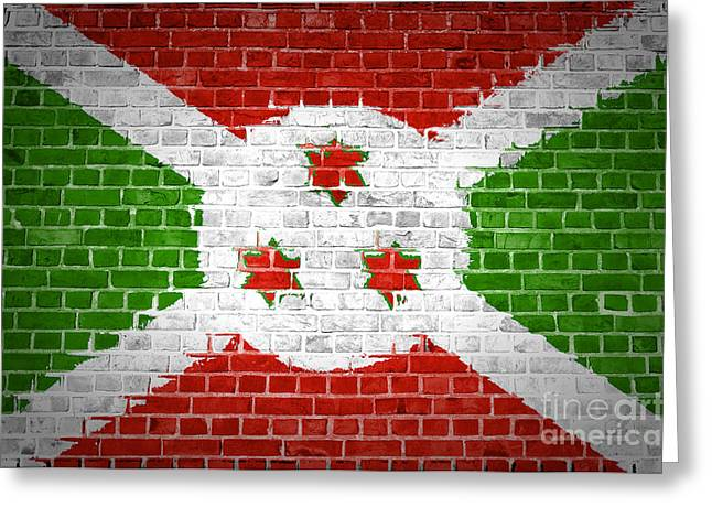 Stonewall Greeting Cards - Brick Wall Burundi Greeting Card by Antony McAulay