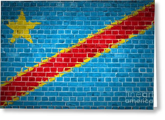 Stonewall Greeting Cards - Brick Wall Congo-Kinshasa Greeting Card by Antony McAulay