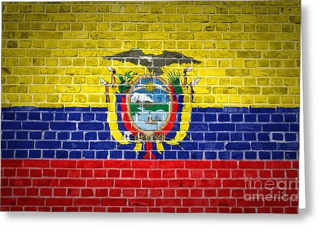 Old Wall Greeting Cards - Brick Wall Ecuador Greeting Card by Antony McAulay