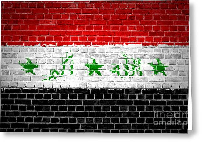 Stonewall Greeting Cards - Brick Wall Iraq Greeting Card by Antony McAulay