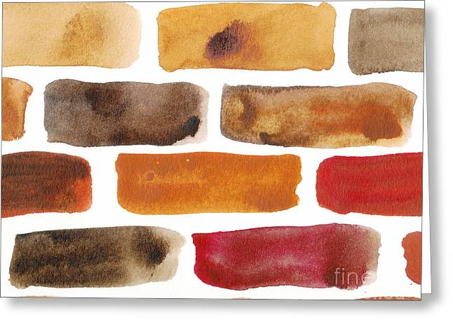 Beige Abstract Greeting Cards - Brick wall Greeting Card by Kerstin Ivarsson