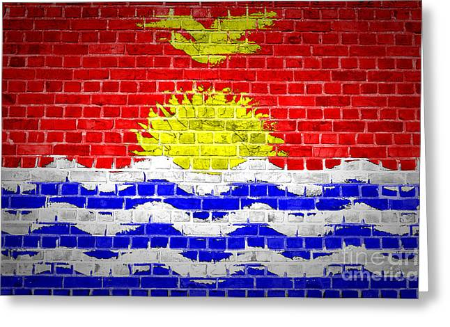Stonewall Greeting Cards - Brick Wall Kiribati Greeting Card by Antony McAulay