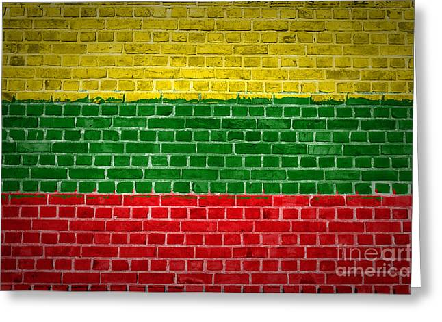 Lithuania Greeting Cards - Brick Wall Lithuania Greeting Card by Antony McAulay