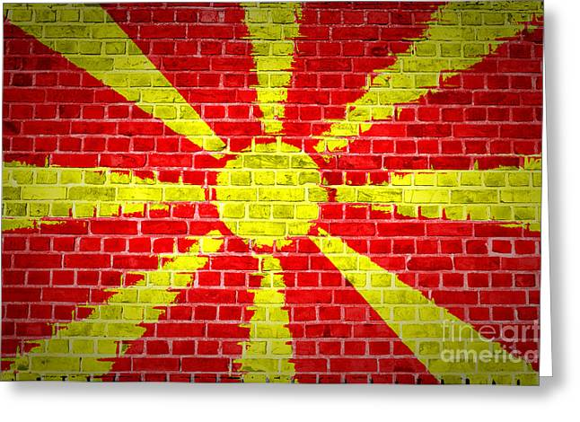 Stonewall Greeting Cards - Brick Wall Macedonia Greeting Card by Antony McAulay