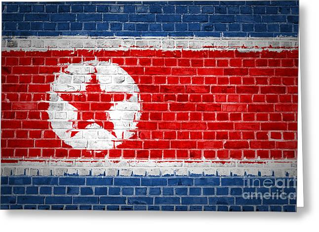 Stonewall Greeting Cards - Brick Wall North Korea Greeting Card by Antony McAulay