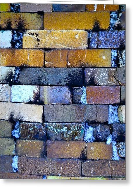 Burned Clay Photographs Greeting Cards - Brick Wall of a Pottery Kiln Greeting Card by Anna Ruzsan