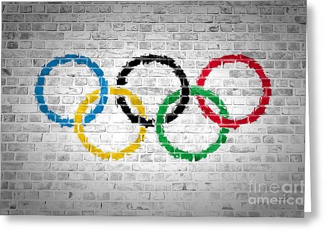 Old Wall Greeting Cards - Brick Wall Olympic Movement Greeting Card by Antony McAulay